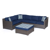 Hanover Metropolitan 5-Piece Lounge Set, Navy Blue/Gray