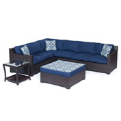 Hanover Metropolitan 6-Piece Lounge Set, Navy Blue/French Roast