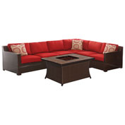 Hanover Metropolitan Woven Fire Pit Lounge Set, Autumn Berry/Natural Stone