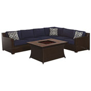 Hanover Metropolitan Woven Fire Pit Lounge Set, Navy Blue/Natural Stone