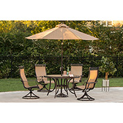 Hanover Monaco 5-Piece Outdoor Swivel Chair Dining Set with Umbrella