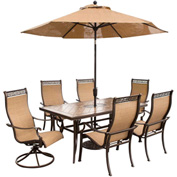 Hanover Monaco 7-Piece Outdoor Dining Set with Umbrella