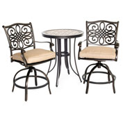 Hanover Monaco 3-Piece High-Dining Bistro Set, Natural Oat