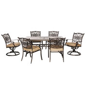 Hanover Monaco 7-Piece Dining Set, Natural Oat