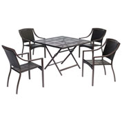 "Hanover Orleans 5-Piece Dining Set w/ 40"" Square Table, French Roast"