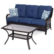Hanover Orleans 2-Piece Patio Set, Navy Blue/French Roast