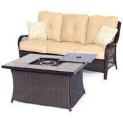Hanover Orleans 2-Piece Woven Fire Pit Lounge Set, Sahara Sand/Natural Stone