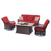 Hanover Orleans 4-Piece Woven Fire Pit Lounge Set, Autumn Berry/Natural Stone