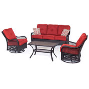 Hanover Orleans 4-Piece All-Weather Patio Set, Autumn Berry/French Roast