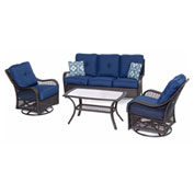 Hanover Orleans 4-Piece All-Weather Patio Set, Navy Blue/French Roast