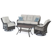 Hanover Orleans 4-Piece All-Weather Patio Set, Silver Lining/Gray