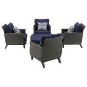 Hanover Savannah 5-Piece Chat Set, Navy Blue