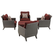 Hanover Savannah 5-Piece Chat Set, Crimson Red