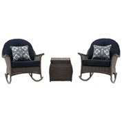Hanover San Marino 3-Piece Rocking Chat Set, Navy Blue