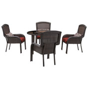 "Hanover Strathmere 5-Piece Dining Set w/ 48"" Round Table, Crimson Red"