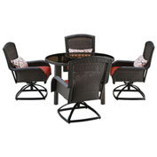 "Hanover Strathmere 5-Piece Swivel Dining Set w/ 48"" Round Table, Crimson Red"