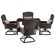 "Hanover Strathmere 5-Piece Swivel Dining Set w/ 48"" Square Table, Crimson Red"