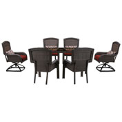 Hanover Strathmere 7-Piece Dining Set, Crimson Red, STRADN7PCSW-RED