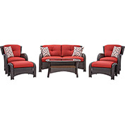 Strathmere 6-Piece Wicker Patio Set, Crimson Red