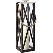 "Cambridge 32"" Driftwood Criss-Cross Frame Lantern"