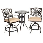 Hanover Traditions 3-Piece High-Dining Bistro Set, Natural Oat
