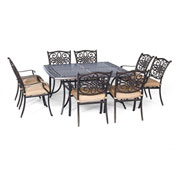 Hanover Traditions 9-Piece Square Dining Set, Natural Oat
