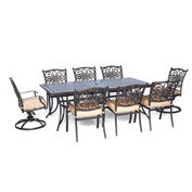 Hanover Traditions 9-Piece Dining Set w/ Two Swivel Rockers, Natural Oat