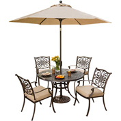Hanover Traditions 5-Piece Outdoor Dining Set with Table Umbrella