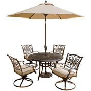 Hanover Traditions 5-Piece Outdoor Swivel Chair Dining Set with Table Umbrella