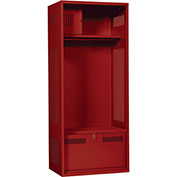 ALB Plus Gear Locker 9-2424-BF-91 w/Security Box, Coat Bar, Foot Locker 24x24x72 Red All-Welded