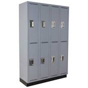 "ALB Plus A Series Locker A1218B-2TGR4-44 - Double Tier 4 Wide w/Recess Base 12""W x 18""D x 36""H Gray"
