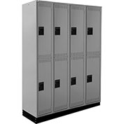 ALB Plus Steel Locker C1218B2TGR4 w/Recessed Base Double Tier 4 Wide 12x18x36 Lt Gray All-Welded