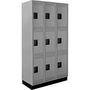ALB Plus Steel Locker C1218B3TGR3 w/Recessed Base Triple Tier 3 Wide 12x18x24 Lt Gray All-Welded