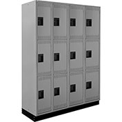 ALB Plus Steel Locker C1218B3TGR4 w/Recessed Base Triple Tier 4 Wide 12x18x24 Lt Gray All-Welded