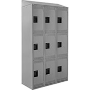 "ALB Plus Steel Locker C1218S3TGR3 w/Slope Top Triple Tier 3 Wide 12""Wx18""Dx24""H Lt Gray All-Welded"