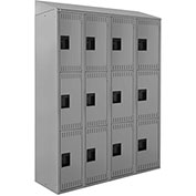 "ALB Plus Steel Locker C1218S3TGR4 w/Slope Top Triple Tier 4 Wide 12""Wx18""Dx24""H Lt Gray All-Welded"