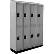 ALB Plus Steel Locker C1218SB2TGR4 w/Slope Top & Recessed Base 2 Tier 4 Wide 12x18x36 Lt Gray Welded