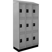 ALB Plus Steel Locker C1218SB3TGR3 w/Slope Top & Recessed Base 3 Tier 3 Wide 12x18x24 Lt Gray Welded