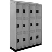 ALB Plus Steel Locker C1218SB3TGR4 w/Slope Top & Recessed Base 3 Tier 4 Wide 12x18x24 Lt Gray Welded