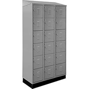 ALB Plus Steel Locker C1218SB6TGR3 w/Slope Top & Recessed Base Six Tier 3 Wide 12x18x12 Gray Welded