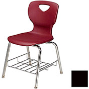 "Allied Plastics CHOICE™ Series Poly Stack Chair with Bookrack - 18"" - Black - Pkg Qty 4"