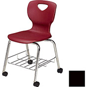 "Allied Plastics CHOICE™ Series Poly Stack Chair with Bookrack & Casters - 18"" - Black - Pkg Qty 4"