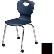 "Allied Plastics CHOICE™ Series Poly Stack Chair with Casters - 18"" - Black - Pkg Qty 4"