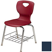 "Allied Plastics CHOICE™ Series Poly Stack Chair with Bookrack - 18"" - Blue - Pkg Qty 4"