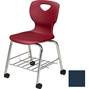 "Allied Plastics CHOICE™ Series Poly Stack Chair with Bookrack & Casters - 18"" - Blue - Pkg Qty 4"