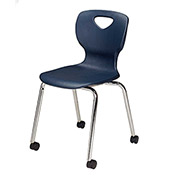 "Allied Plastics CHOICE™ Series Poly Stack Chair with Casters - 18"" - Blue - Pkg Qty 4"
