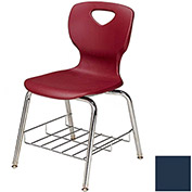 "Allied Plastics CHOICE™ Series Poly Stack Chair with Bookrack - 18"" - Burgundy - Pkg Qty 4"