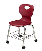 "Allied Plastics CHOICE™ Series Poly Stack Chair with Bookrack & Casters - 18"" - Burgundy - Pkg Qty 4"