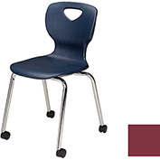"Allied Plastics CHOICE™ Series Poly Stack Chair with Casters - 18"" - Burgundy - Pkg Qty 4"