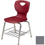"Allied Plastics CHOICE™ Series Poly Stack Chair with Bookrack - 18"" - Platinum - Pkg Qty 4"